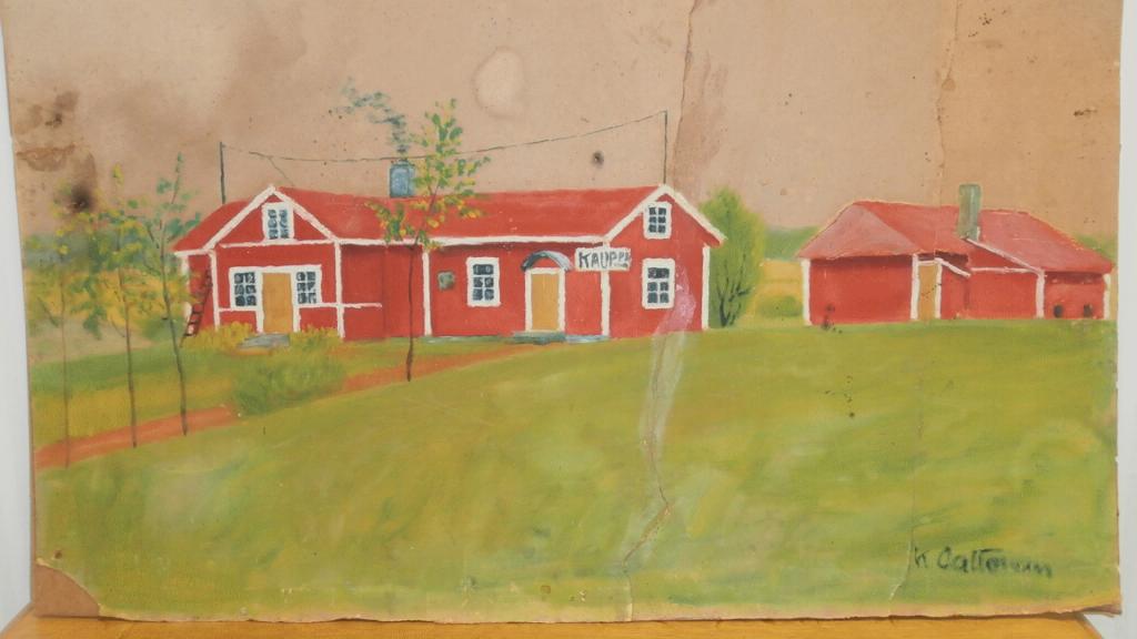 Pelttarin kauppa 1930-luvulla Kalle Aaltosen maalaamana. Taulu Pirkko Pelliniemi.
